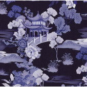 Pagoda Dreams on Navy Asian Oriental Quilting Fabric
