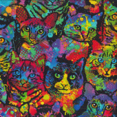 Colourful Paint Splatter Cats Pet Animal Quilting Fabric