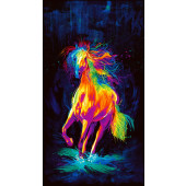 Bright Colourful Painted Horse Quilting Fabric Panel