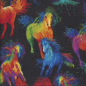 Colourful Painted Horses on Black Quilting Fabric
