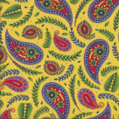 Imperial Paisley Ferns on Yellow Quilting Fabric