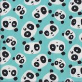 Cute Black and White Pandas on Aqua Quilting Fabric