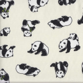 Black and White Pandas on Cream Animal Wildlife Fabric