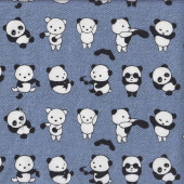 Cute Pandas on Denim Blue Fabric