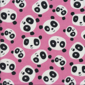 Cute Black and White Pandas on Pink Quilting Fabric