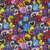 Beautiful Pansy Flowers Pansies Yellow Pink Red Quilt Fabric