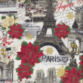 Paris Eiffel Tower Joyeux Noel Quilting Fabric
