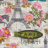 Eiffel Tower Flowers Dancing Zebras Quilting Fabric
