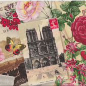 Springtime in Paris Eiffel Tower Butterflies Roses Flowers Quilt Fabric