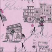 Paris Landmarks Shops on Pink Quilting Fabric
