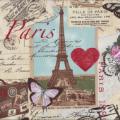 Paris Eiffel Tower Love Hearts Butterflies Roses Quilt Fabric