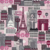 Hello Paris Buildings on Pink Eiffel Tower Champs Elysees Quilt Fabric