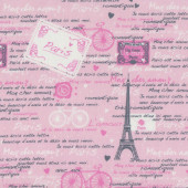 Paris Romantic Love Letters on Pink Eiffel Tower Bicycle Quilt Fabric