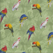 Parrots Birds Green Quilting Fabric