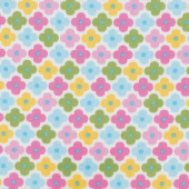 Pastel Flowers on White Remix Quilt Fabric