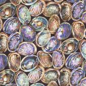 New Zealand Paua Shells Sea Ocean Nature Quilt Fabric
