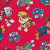 Paw Patrol  on Red Chase Marshall Rubble Quilting Fabric