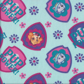 Paw Patrol Pup Power on Blue Everest Skye Girls Quilting Fabric