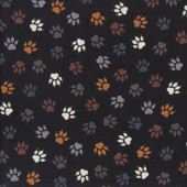 Brown Grey Paw Prints on Black Dog Cat Pet Quilting Fabric