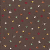 Coloured Paw Prints Quilting Fabric