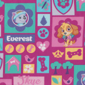 Paw Patrol on Pink Everest Skye Butterflies Girls Kids Licensed Fabric