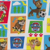 Paw Patrol on White Dogs Puppy Marshall Rubble Kids Licensed Fabric