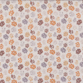 Paw Prints on Light Beige Dog Cat Pet Quilting Fabric