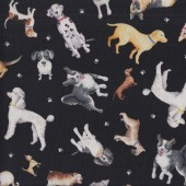 Dogs on Black Faithful Friends Pawsitive Quilting Fabric