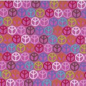 Colourful Peace Signs on Pink Hippy Quilting Fabric