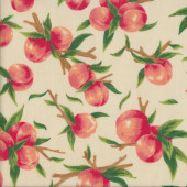 Peaches with Green Leaves on Cream Fruit Kitchen Quilting Fabric