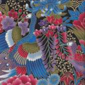 Japanese Blue Purple Peacocks Flowers with Metallic Gold Quilting Fabric