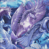 Pegasus Unicorns with Wings Metallic Gold Girls Quilting Fabric