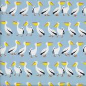 Pelicans on Blue Australian Animal Bird Fabric
