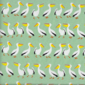 Pelicans on Green Australian Animal Bird Fabric