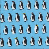 Black and White Penguins Blue Fabric