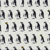 Black and White Penguins Fabric