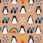 Black and White Penguins Rainbows Fish Trees Kids Fabric