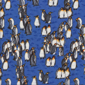 King Penguins on Blue Wildlife Quilting Fabric