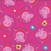 Peppa Pig in Circles Flowers Girls Kids Licensed Quilt Fabric