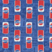 Pepsi Cans on Blue Licensed Quilt Fabric