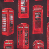 British UK Telephone Booths on Black Quilt Fabric