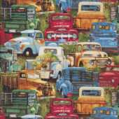 Retro Pickup Trucks Cars on Green Grass Quilting Fabric