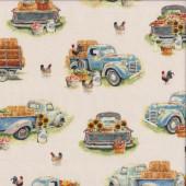 Pickup Trucks Hay Chickens on Cream Quilting Fabric