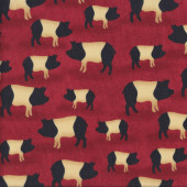 Black and Cream Saddleback Pigs on Red Quilting Fabric