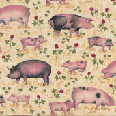 Pigs Piglets Farm Animal Country on Beige Quilting Fabric