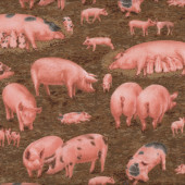 Pink Pigs Piglets Farm Animal Country on Brown Quilting Fabric