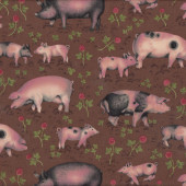 Pigs Piglets Farm Animal Country on Brown Quilting Fabric
