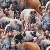 Pigs Piglets Farm Animal Straw Country Quilting Fabric