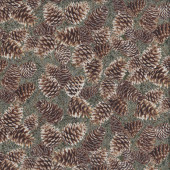 Pine Cones on Green Leaves with Metallic Silver Quilting Fabric