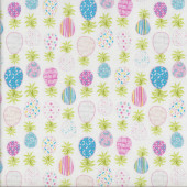 Pretty Patterned Pineapples on White Quilting Fabric